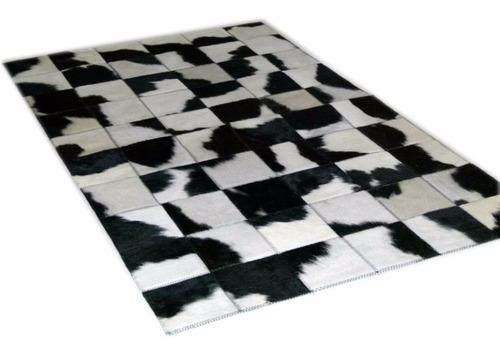 alfombra patchwork cuero vaca con pelo en 1.0m x 0.6m