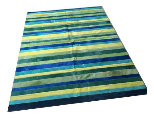alfombra patchwork cuero vaca pelo 1,4x1,8m multicolor rayas
