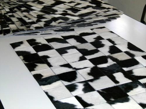 alfombra patchwork de cuero de vaca con pelo!!! 1.0m x 0.6m
