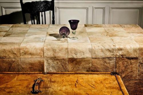 alfombra patchwork de cuero de vaca con pelo. 1,6m x 1,6m