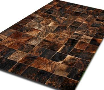 alfombra patchwork de cuero de vaca con pelo. 1,8 m x 2,4m