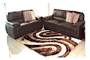 alfombra premium 100% poliester 140x200cm marron-crema 3d