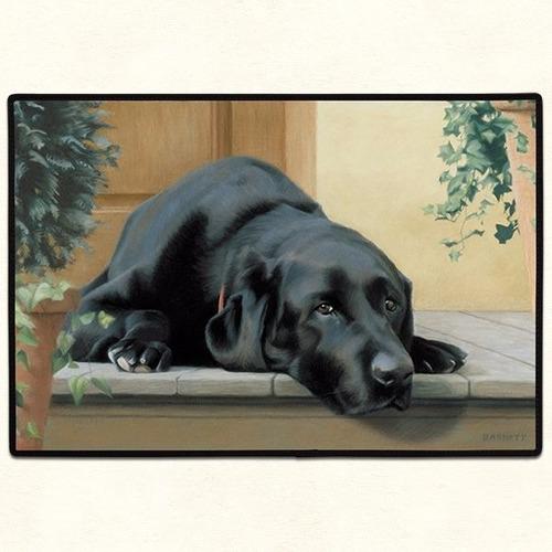 alfombra puertas casas,  perro labrador negro  68 x46 cms