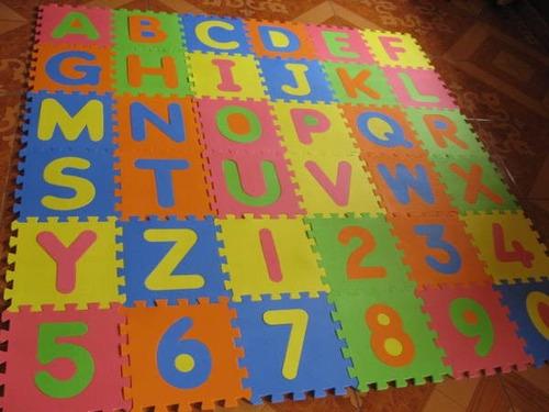 Alfombra puzzle goma eva 31x31 abecedario completo numeros en mercado libre - Alfombra de goma para piso ...