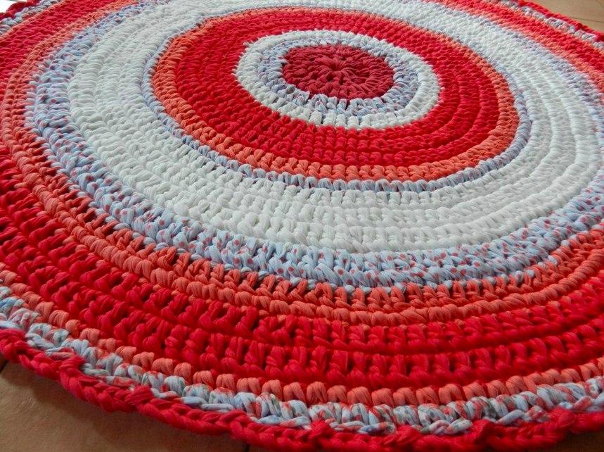 Alfombra redonda tejida trapillo de algod n 4 for Alfombras persas precios mercado libre