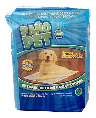 alfombra sanitaria max compact mascotas x 10 ud paño pet