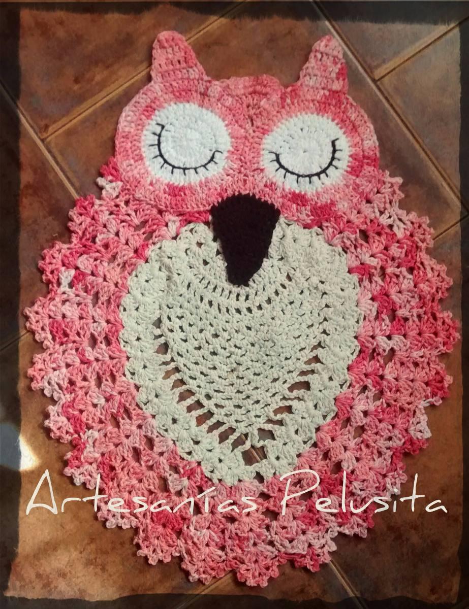 Alfombra Tejida Al Crochet Buho/lechuza - $ 600,00 en Mercado Libre