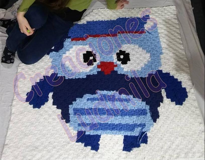 Alfombra Tejida Crochet - Animales: Buho - $ 1.029,00 en Mercado Libre