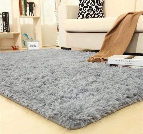 alfombras peludas 2.00 x 2.40 cafe mixto /chilehogar