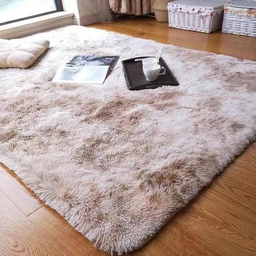 alfombras peludas 2.00 x 3.00 cafe mixto + encio gratis