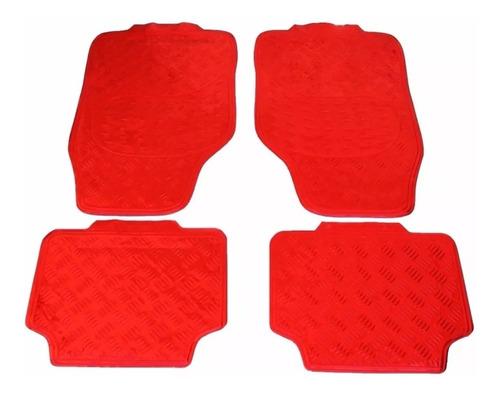 alfombras simil aluminio 4 piezas - plata/ azul/ rojo/ negra