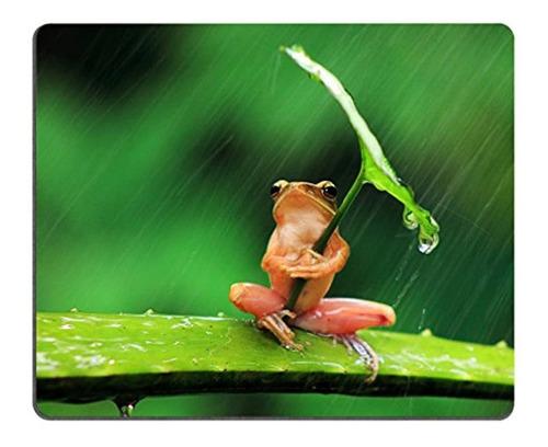alfombrilla de ratón humor rana con hoja paraguas