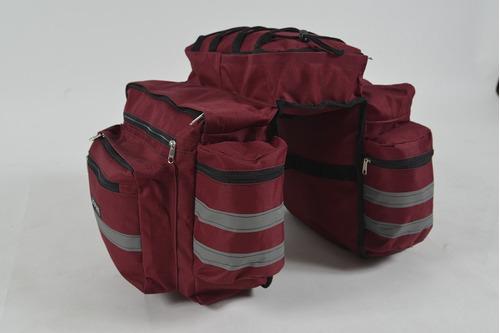alforja para bicicleta 2 bolsilos portabotellas cap 70lts