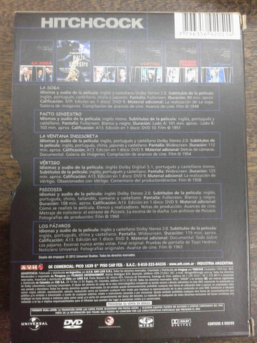 alfred hitchcock * 6 peliculas * 6 dvd * originales *