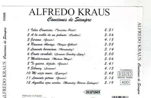 alfredo kraus canciones de siempre importado