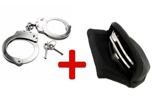 algema profissional p/ policiais e vigilantes + porta algema