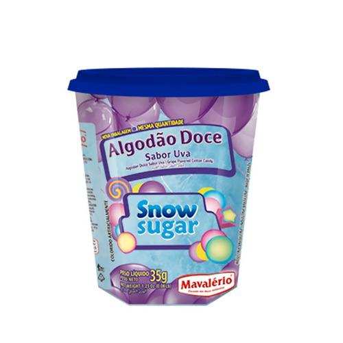 algodão doce sabor uva snow sugar 35g mavalério