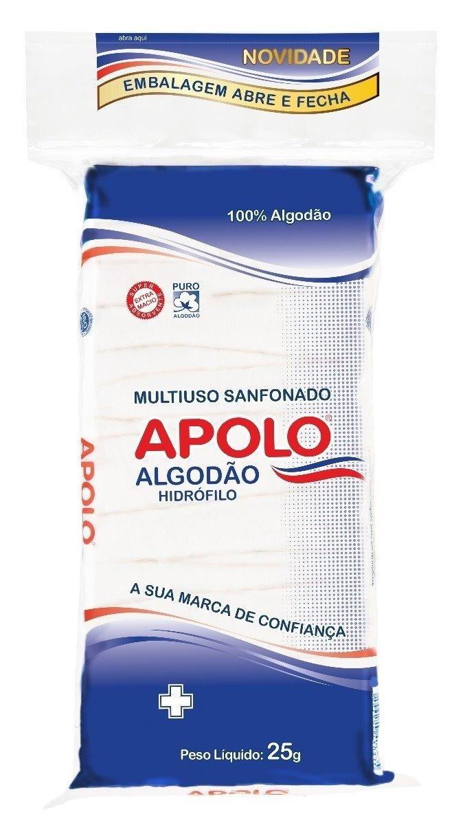 4a37d7d39366e8 Algodão Hidrófilo Multiuso 25g 200 Unidades Apolo