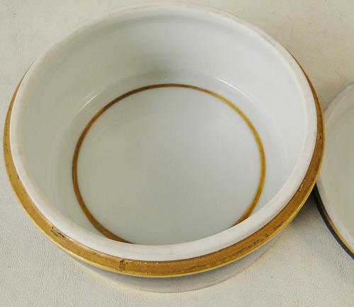 alhajero francés porcelana checoslovaca azul y oro sellada