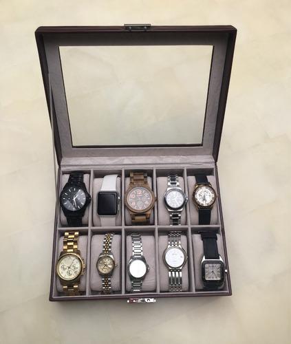 alhajero para 10 relojes, posible agregar placa c/nombre
