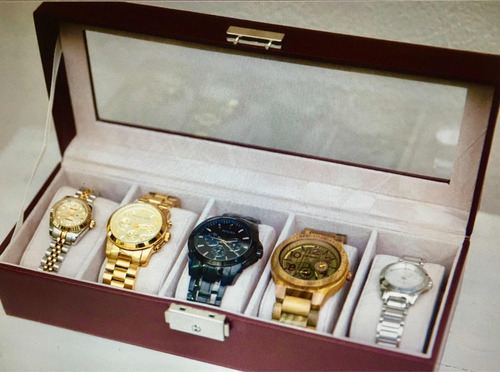 alhajero para guardar 5 relojes o pulseras