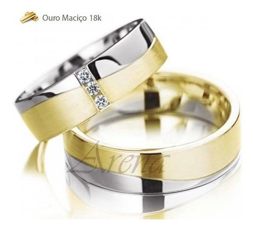 aliança 8 gramas ouro - bicolor 18k garantia total
