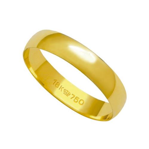 aliança anatômica de ouro 18k 750 largura 4.00mm altura 0.6