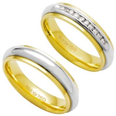 aliança anatômica de ouro e ouro branco 18k 750 largura 5.0