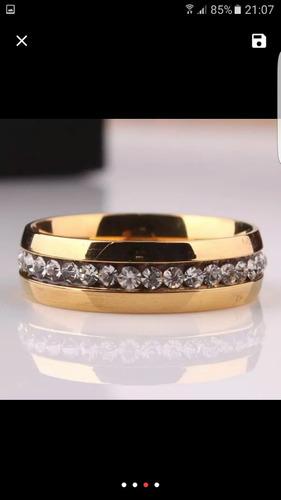 aliança anel de compromisso; noivado , banhado a ouro 18k