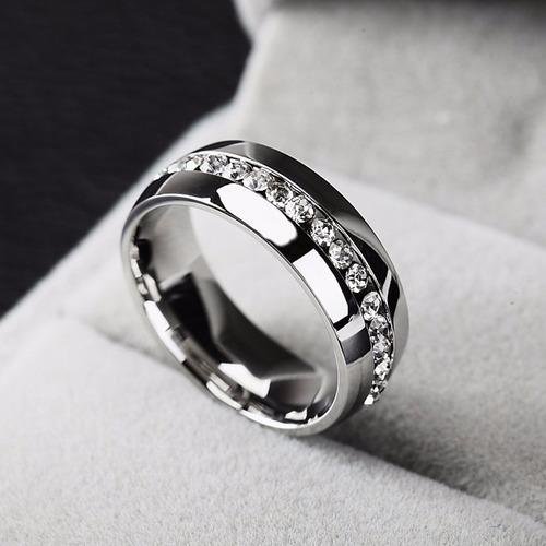 aliança anel de compromisso prata aço com pedras de zircônia