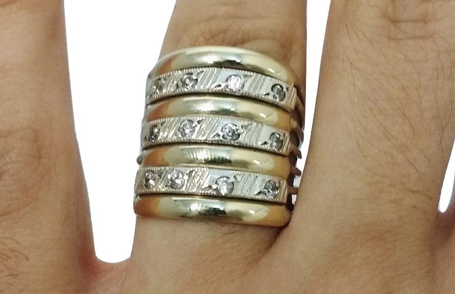d8026b1c49e73 aliança anel grande de ouro 12k prata 950 e pedras genuínas. Carregando  zoom.