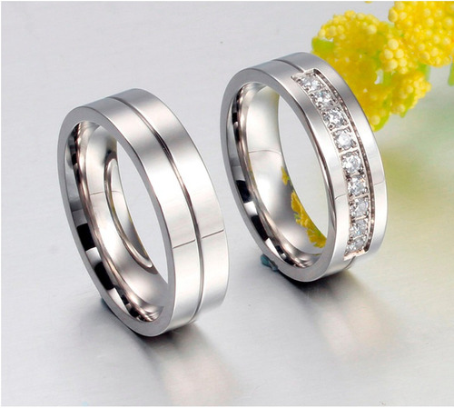 aliança anel namoro grossa anatômica aço inox prata pedras