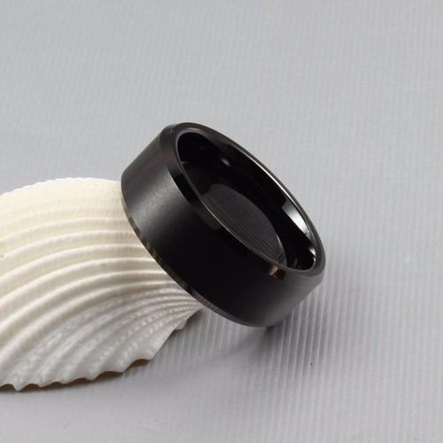 aliança anel preto titânio escovado 8mm anatômico promoção