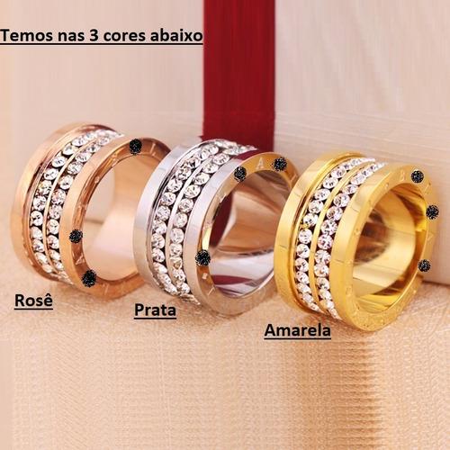 aliança anel titânio zircônias banhado ouro 18k - perfeito