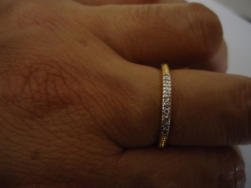aliança aparador com zirconia  folheado a ouro