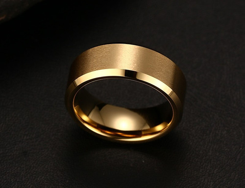 aliança casamento tungstênio 8mm folheada ouro ( unitário)