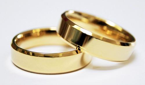 aliança chanfrada com zirconia 6mm banhada a ouro 1 unid
