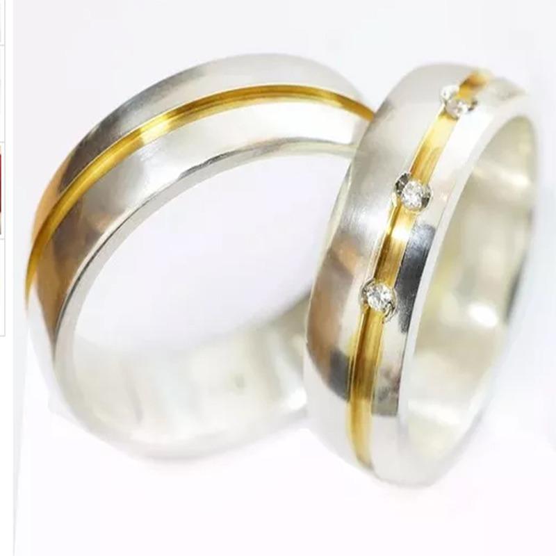 ba4cd14c30f aliança compromisso em prata namoro noivado aj024. Carregando zoom.
