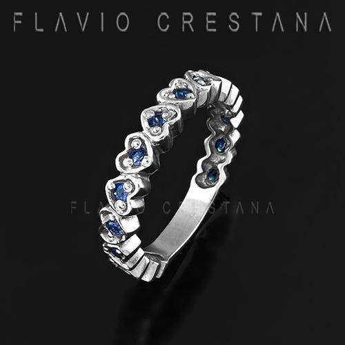 aliança coração,  zircônia azul, prata 925, banho de ródio,