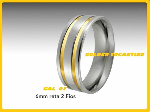 aliança de aço 6mm 2 fio de ouro,reta, gal 07