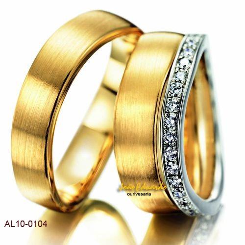 aliança de casamento 45 diamantes na feminina al10-0104