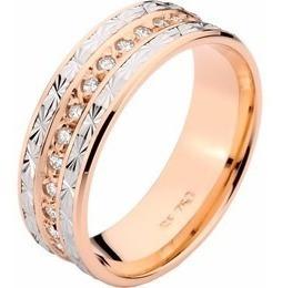 aliança de casamento soneto em ouro 18k - 2360 com diamantes