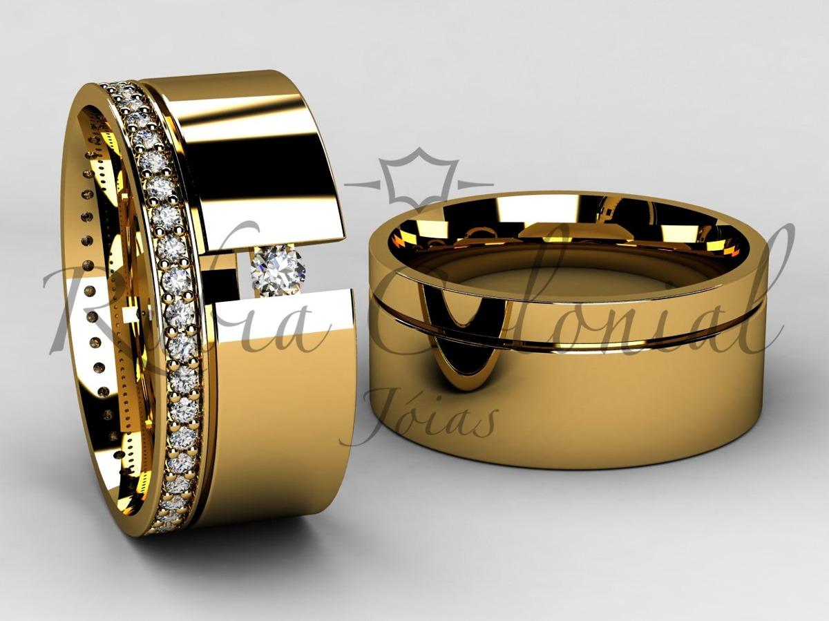 Aliança De Luxo - Ouro 18k. - Diamantes Casamento Luxo - R  5.490,00 ... af7f23df21