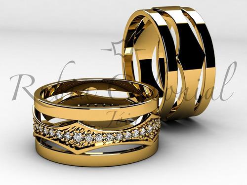 aliança de luxo ouro e zirconias