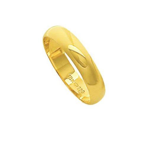 aliança de ouro 18k 750 largura 4.50mm altura 1.20mm