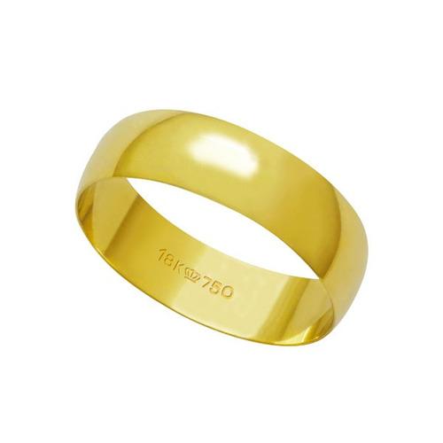 aliança de ouro 18k 750 largura 5.50mm altura 0.70mm
