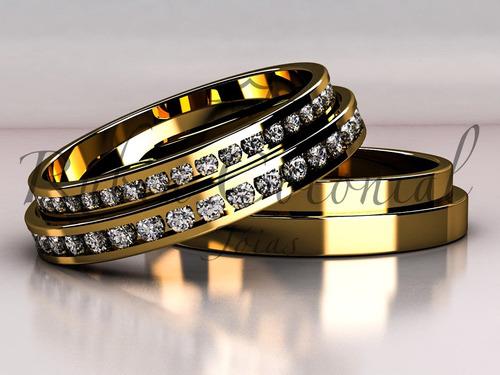 aliança de ouro 18k e diamantes. casamento, noiva, joias