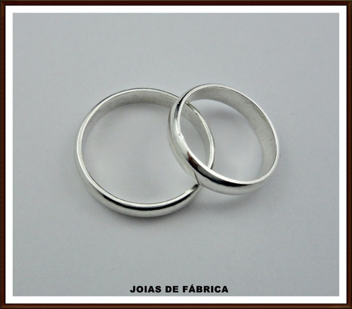 aliança de prata 950 4mm preço do par