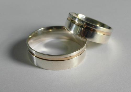 aliança de prata 950 com fio de ouro 12 gramas