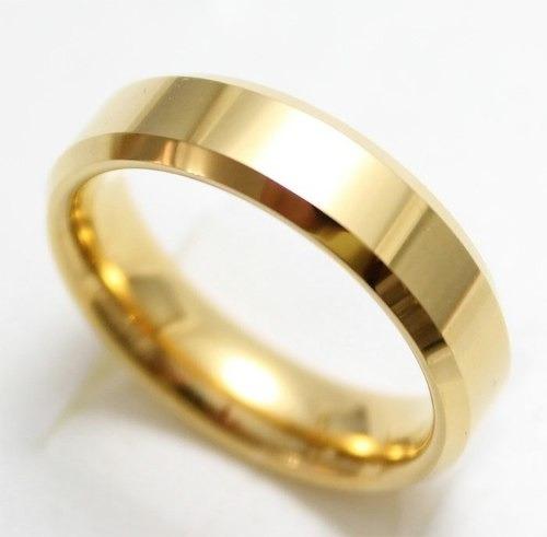 aliança de tungstênio chanfrada 6mm banhada a ouro